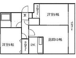 北海道札幌市南区澄川六条9丁目の賃貸マンションの間取り