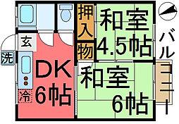 松江ハウス[207号室]の間取り