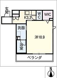 仮)シャーメゾン高蔵寺 3階1Kの間取り
