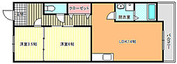 大阪府大阪市東住吉区湯里6丁目の賃貸マンションの間取り