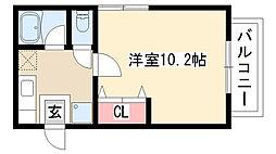 愛知県名古屋市天白区表山3丁目の賃貸アパートの間取り