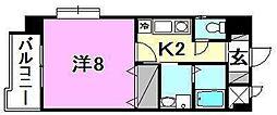 メゾンドール錦町 3階1Kの間取り