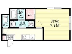 阪急千里線 豊津駅 徒歩12分の賃貸マンション 1階1Kの間取り