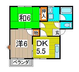 シーズ桜A[102号室]の間取り