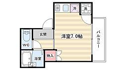 京都府京都市左京区田中上柳町の賃貸アパートの間取り