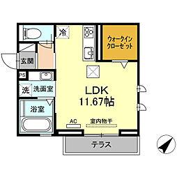 D-room若松町 1階ワンルームの間取り