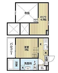 愛知県名古屋市守山区新守町の賃貸アパートの間取り