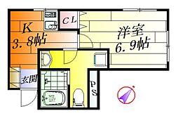 はとやマンション[3階]の間取り