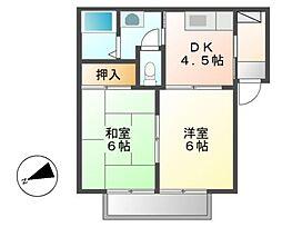メゾンドアルルA[1階]の間取り