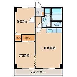 愛媛県松山市小坂3丁目の賃貸マンションの間取り