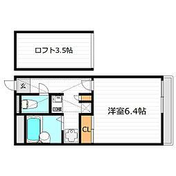 大阪府大阪市東淀川区豊新1の賃貸アパートの間取り