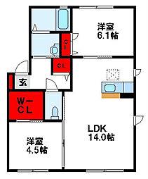 福岡県遠賀郡水巻町伊左座4丁目の賃貸アパートの間取り