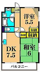 ハイツ東大井 1階2DKの間取り