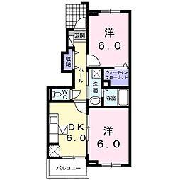 南海高野線 三日市町駅 徒歩13分の賃貸アパート 1階2DKの間取り