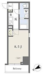 プライムコート本八幡 9階1Kの間取り