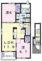 サニーガーデンA 三木市加佐[2階]の間取り
