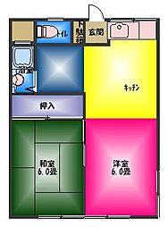ハイコーポ柳郷地B[2階]の間取り