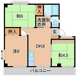 リバーサイド中井[2階]の間取り