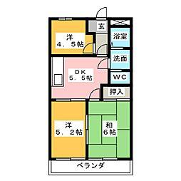 アーバンハイツA棟[2階]の間取り