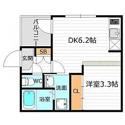 Osaka Metro谷町線 千林大宮駅 徒歩9分の賃貸アパート 1階1DKの間取り