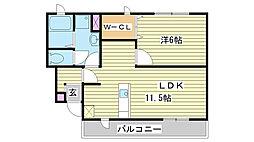 エクセラン國木Ⅰ[1階]の間取り