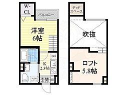 南海高野線 堺東駅 徒歩16分の賃貸アパート 1階1Kの間取り