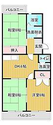 桃山[4階]の間取り