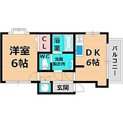 Osaka Metro谷町線 太子橋今市駅 徒歩2分の賃貸マンション 2階1DKの間取り