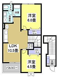 カーサ・プラテリーアA[2階]の間取り