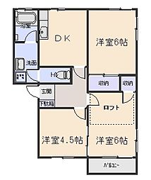 ファンタジアB[2階]の間取り
