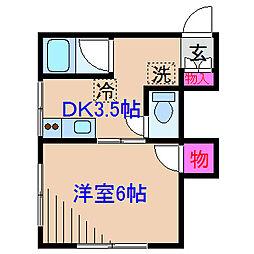 神奈川県横浜市港北区篠原北2丁目の賃貸アパートの間取り
