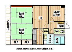 福岡県北九州市小倉北区金田1丁目の賃貸マンションの間取り