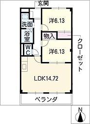 アパートメント キダ N棟[1階]の間取り