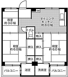 ビレッジハウス伏屋7号棟[5階]の間取り
