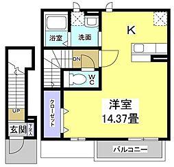 静岡県袋井市天神町2丁目の賃貸アパートの間取り