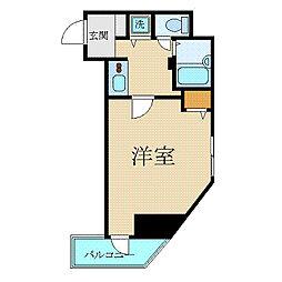 東京メトロ丸ノ内線 新宿三丁目駅 徒歩3分の賃貸マンション 5階1Kの間取り