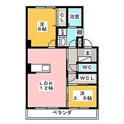 クラウン杉本B[4階]の間取り