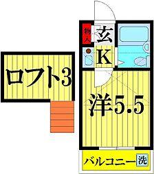 埼玉県越谷市大沢3丁目の賃貸アパートの間取り