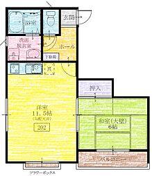 多賀台ヒルズアパート[202号室]の間取り