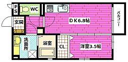 広島県広島市安芸区船越5の賃貸アパートの間取り