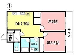 京王線 多磨霊園駅 徒歩7分の賃貸マンション 1階2DKの間取り
