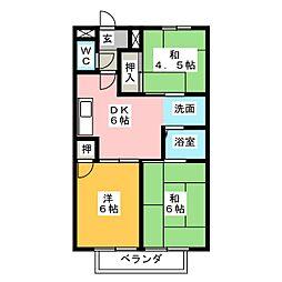 愛知県名古屋市中川区伏屋1の賃貸アパートの間取り