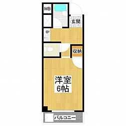 パールハウス北野田[503号室]の間取り
