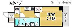 南海線 岸里玉出駅 徒歩6分の賃貸マンション 2階1Kの間取り