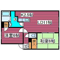 北海道札幌市東区中沼西四条1丁目の賃貸アパートの間取り