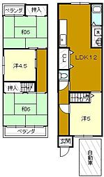 [一戸建] 大阪府堺市堺区中之町東1丁 の賃貸【/】の間取り