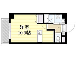 紺屋スカイマンション参番館 1階ワンルームの間取り