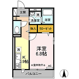 (仮称)D-room小田原市浜町アパート 2階1Kの間取り