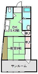 ハイム峰 2階1DKの間取り