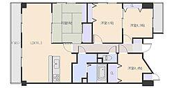 広島県広島市西区田方3丁目の賃貸マンションの間取り